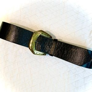 VINTAGE Leather Belt with Snakeskin Inlay